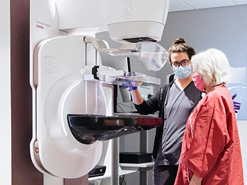 Nurse and Patient before a mammogram